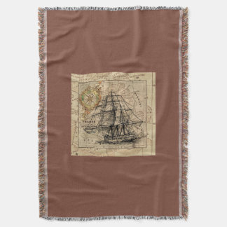 Vintage Ocean Map and Ship Throw