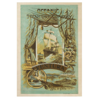 Vintage Oceanic Steamship Menu Poster Wood Poster