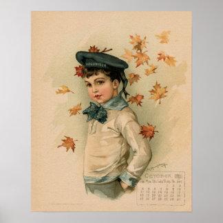 Vintage October 1891 beautiful children drawing Poster