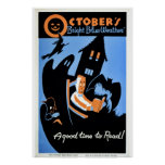"Vintage October's ""bright blue weather"" WPA Poster"