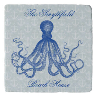 Vintage Octopus Anchors Blue Custom Beach House Trivet