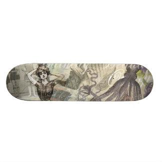 Vintage Octopus and Bathing Beauties Skate Board Deck