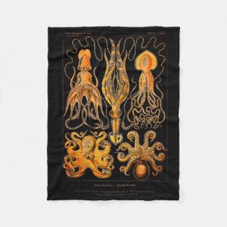 Vintage Octopus and Squid Fleece Blanket