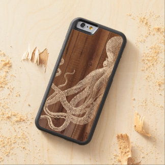 Vintage Octopus Botanical Wood Carved Maple iPhone 6 Bumper Case