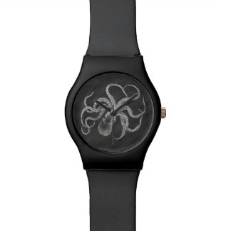 Vintage Octopus Chalkboard Background Template Wristwatches