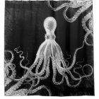 Vintage Octopus Dark Shower Curtain