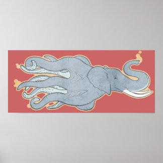 Vintage Octopus Elephant Print
