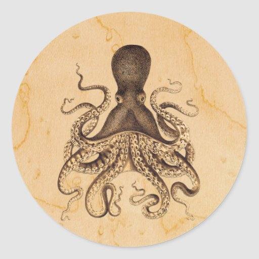 Vintage Octopus Illustration in Browns Round Sticker