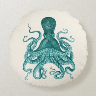 Vintage Octopus Illustration in Turquoise Round Cushion