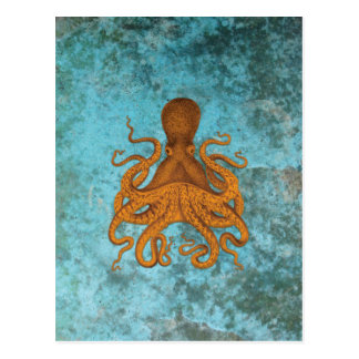 Vintage Octopus Illustration on Turquoise Postcard