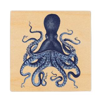 Vintage octopus Kraken engraving illustration Maple Wood Coaster