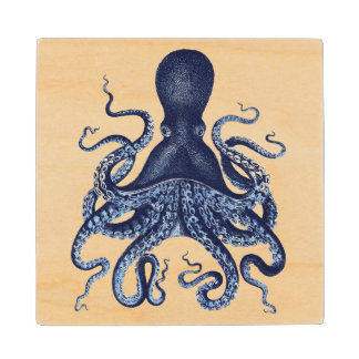Vintage octopus Kraken engraving illustration Wood Coaster