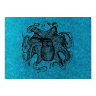 Vintage Octopus Like Cuttlefish 1800s Sea Blue Card