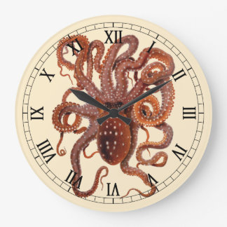 Vintage Octopus Macropus, Marine Aquatic Animals Large Clock