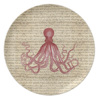 Vintage octopus dinner plate