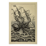 Vintage Octopus Ship Art Print