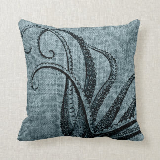 Vintage Octopus Tentacles Black Blue Grey Cushion