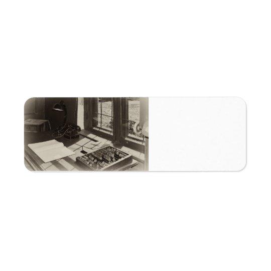 Vintage office interior return address label