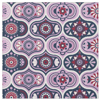 Vintage Ogee Intricate Navy and Orchid Fabric