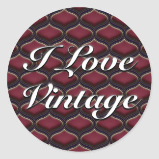 Vintage Ogee Red Berries Round Sticker