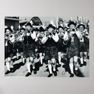 Vintage Oktoberfest, Munich, Brass band Poster