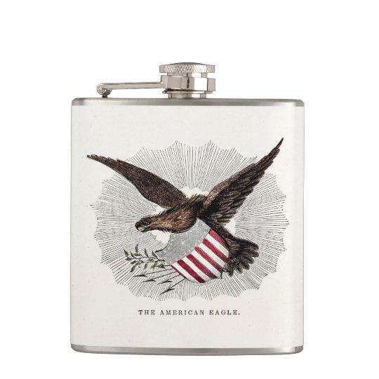 Vintage Old 1800s American Eagle Bird Illustration Hip Flask