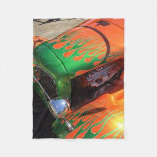 Vintage Old Antique Vehicle Flame Paint Job Fleece Blanket