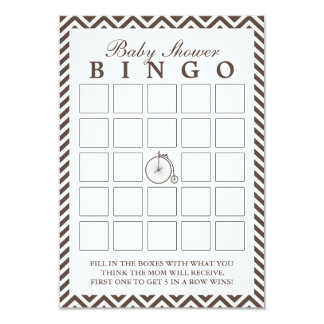 Vintage Old Bike Chevron Baby Shower Bingo Cards