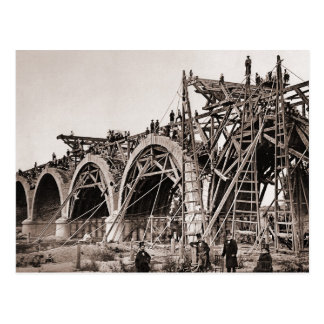 Vintage Old Bridge Construction Postcard