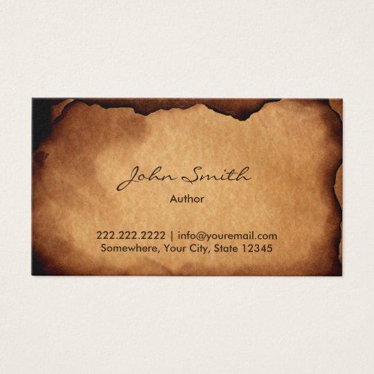 Vintage Old Burned Paper Author Business Card