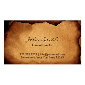 Vintage Old Burned Paper Funeral Business Card