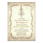 vintage old chandelier chic wedding invitations