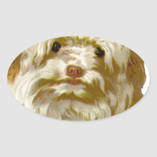 Vintage Old English Sheepdog pet puppy cute Oval Stickers