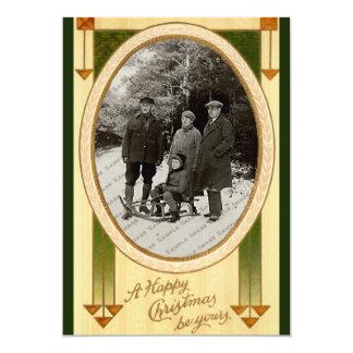 Vintage Old Fashion Christmas Template Flat Card 13 Cm X 18 Cm Invitation Card