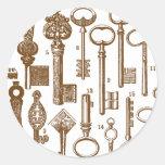 Vintage Old Fashioned Antique Key Set Round Sticker