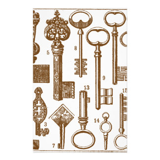 Vintage Old Fashioned Antique Key Set Stationery