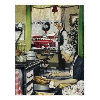 Vintage Old Fashioned Home Kitchen Christmas Postc Postcard