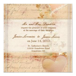 Vintage, old fashioned wedding invitation