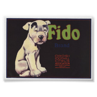 Vintage Old Fido Fruit Crate Labels Poster