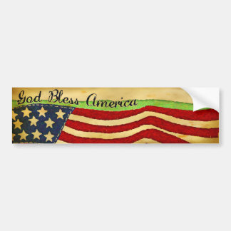 Vintage Old Glory God Bless America Bumper Sticker