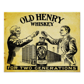 Vintage Old Henry Whiskey Poster