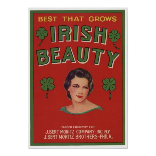Vintage Old Irish Beauty Fruit Crate Labels Poster