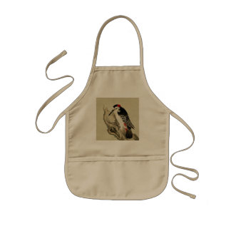Vintage Old Japanese Painting of A Little Bird Kids Apron