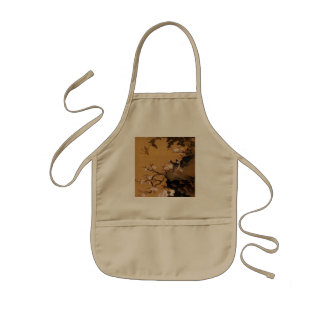 Vintage Old Japanese Painting of Two Birds Kids Apron