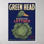 Vintage Old Lettuce Vegetables Crate Labels Poster
