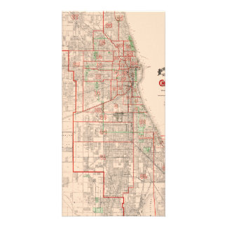 Vintage Old Map of Chicago - 1893 Customised Photo Card