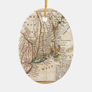 vintage old map of new york america ceramic oval decoration