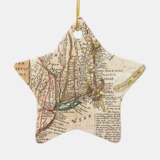 vintage old map of new york america ceramic star decoration
