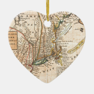 vintage old map of new york america christmas ornament