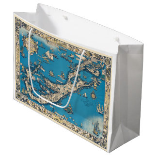 Vintage Old Map of the Bermuda Islands Large Gift Bag